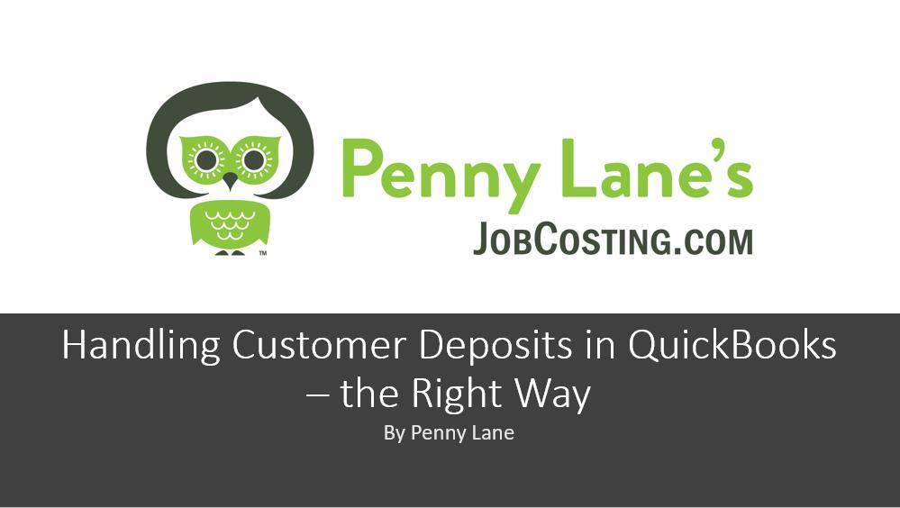 Handling Customer Deposits in QuickBooks